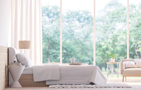 Minimalistická ložnice v přírodních barvách, kde dominují velká okna, která poskytují krásný výhled do přírody. Prostě sen!